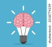 big human brain inside shining... | Shutterstock . vector #1018774159