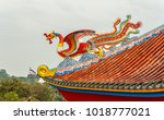 dragon on chinese temple roof... | Shutterstock . vector #1018777021