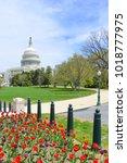 us capitol in springtime  ...   Shutterstock . vector #1018777975