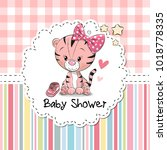 baby shower greeting card with... | Shutterstock . vector #1018778335