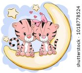 two cute tigers is sitting on... | Shutterstock . vector #1018778524