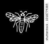 bee vector illustration. doodle ... | Shutterstock .eps vector #1018779385