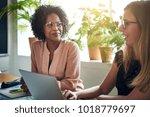 two smiling businesswomen... | Shutterstock . vector #1018779697