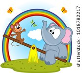 elephant and mouse riding on... | Shutterstock .eps vector #1018782217