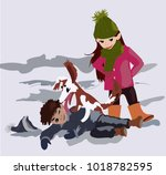 a sweet girl and a cheerful boy ... | Shutterstock .eps vector #1018782595