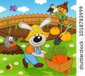 rabbit gardener with carrot  ... | Shutterstock .eps vector #1018783999