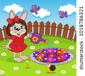 rabbit girl watering flowers in ... | Shutterstock .eps vector #1018786321