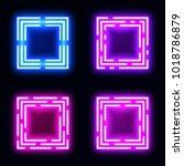 neon light square banners set.... | Shutterstock . vector #1018786879