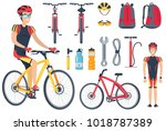 cyclist and bicycle  tools set... | Shutterstock .eps vector #1018787389