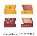 set of retro suitcases front... | Shutterstock .eps vector #1018787425