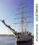 Small photo of Vertical image of ship sailboat from prow aft(astern) with the masts and the folded sails