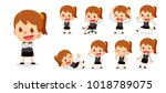 set of tiny business woman... | Shutterstock .eps vector #1018789075