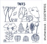 set of various abstract trees... | Shutterstock .eps vector #1018789501