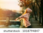 cool hipster young girl in pink ... | Shutterstock . vector #1018794847