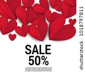 sale with valentine hearts... | Shutterstock .eps vector #1018797811