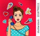 comic shocked girl. pop art... | Shutterstock .eps vector #1018798111