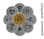 set of gold and silver crypto... | Shutterstock .eps vector #1018799371