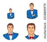vector pop art avatar  icon of... | Shutterstock .eps vector #1018800979
