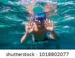 boy in swimming mask dive in... | Shutterstock . vector #1018802077