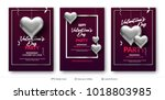 silver 3d hearts and greeting... | Shutterstock .eps vector #1018803985