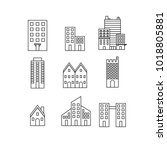 building vector icons set ... | Shutterstock .eps vector #1018805881