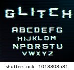 vector distorted glitch font.... | Shutterstock .eps vector #1018808581