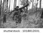 traveler carries a dry timber...   Shutterstock . vector #1018812031