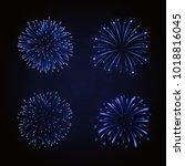 beautiful blue fireworks set.... | Shutterstock .eps vector #1018816045