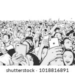 stylized drawing of party crowd ... | Shutterstock .eps vector #1018816891