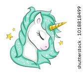 cute magical unicorn. vector...   Shutterstock .eps vector #1018818499