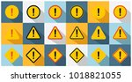 set of caution icons in circle  ... | Shutterstock .eps vector #1018821055