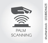 palm scanning glyph icon.... | Shutterstock .eps vector #1018824625