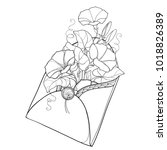 vector bouquet with outline... | Shutterstock .eps vector #1018826389