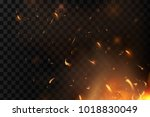 red fire sparks vector flying... | Shutterstock .eps vector #1018830049