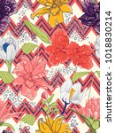 summer positive floral seamless ... | Shutterstock .eps vector #1018830214