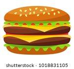 colorful burger hamburger... | Shutterstock . vector #1018831105