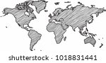 freehand world map sketch on... | Shutterstock .eps vector #1018831441