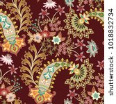 seamless pattern with ornate ... | Shutterstock .eps vector #1018832734