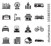 city icons. black flat design.... | Shutterstock .eps vector #1018835335