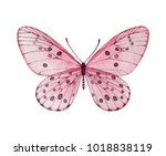 watercolor pink butterfly.... | Shutterstock . vector #1018838119