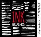 hand painted brushes set | Shutterstock .eps vector #1018838269