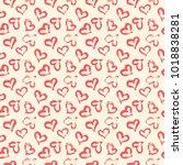 seamless heart pattern. hand... | Shutterstock .eps vector #1018838281