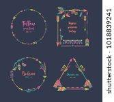 hand drawn boho style frames... | Shutterstock .eps vector #1018839241