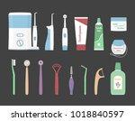 dental cleaning tools. vector... | Shutterstock .eps vector #1018840597