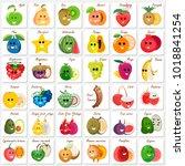 funny fruit stikers of vector... | Shutterstock .eps vector #1018841254