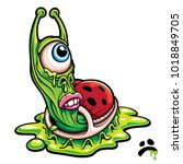 sad one eyed green slug monster ... | Shutterstock .eps vector #1018849705