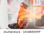 double exposure collage with... | Shutterstock . vector #1018850599