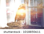 double exposure collage with... | Shutterstock . vector #1018850611