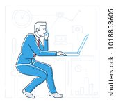 businessman at the computer  ... | Shutterstock .eps vector #1018853605