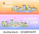 lovely city   set of modern... | Shutterstock .eps vector #1018853659